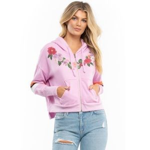 Wildfox Theo Rose & Striped Get Lei'd Hoodie